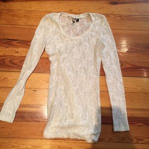 Shear lace long sleeve shirt